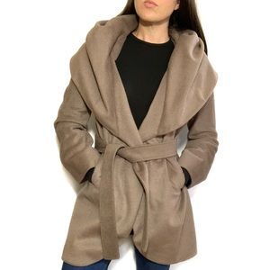 DKNY Wool Blend Shawl Collar Wrap Coat in Mink